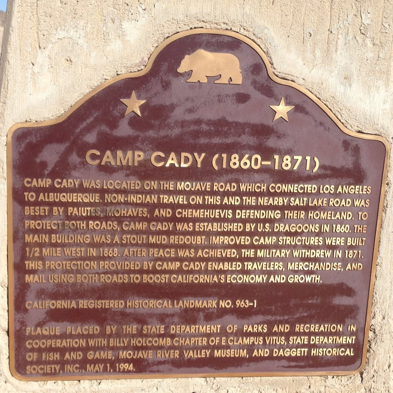CHL #963.1 - Camp Cady State Plaque