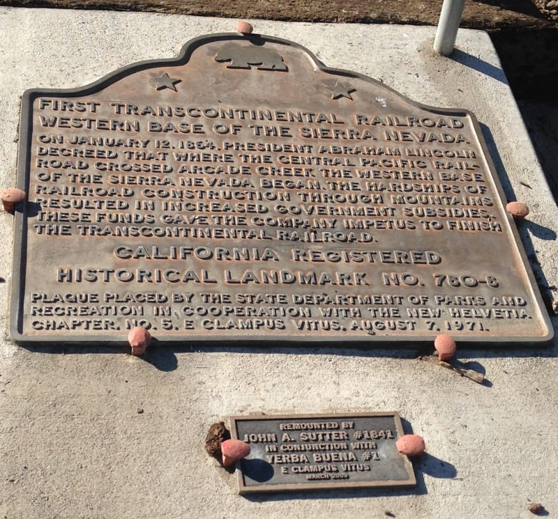 CHL #780.8 - Transcontinental Railroad - Western Base of the Sierra Nevada State Plaque