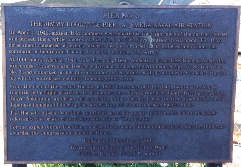 "Plaque honoring James ""Jimmy Doolittle."