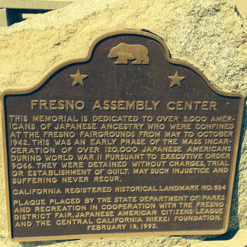 CHL #934 Temporary Japanese American Detention Camp/Assembly Center Fresno, Plaque