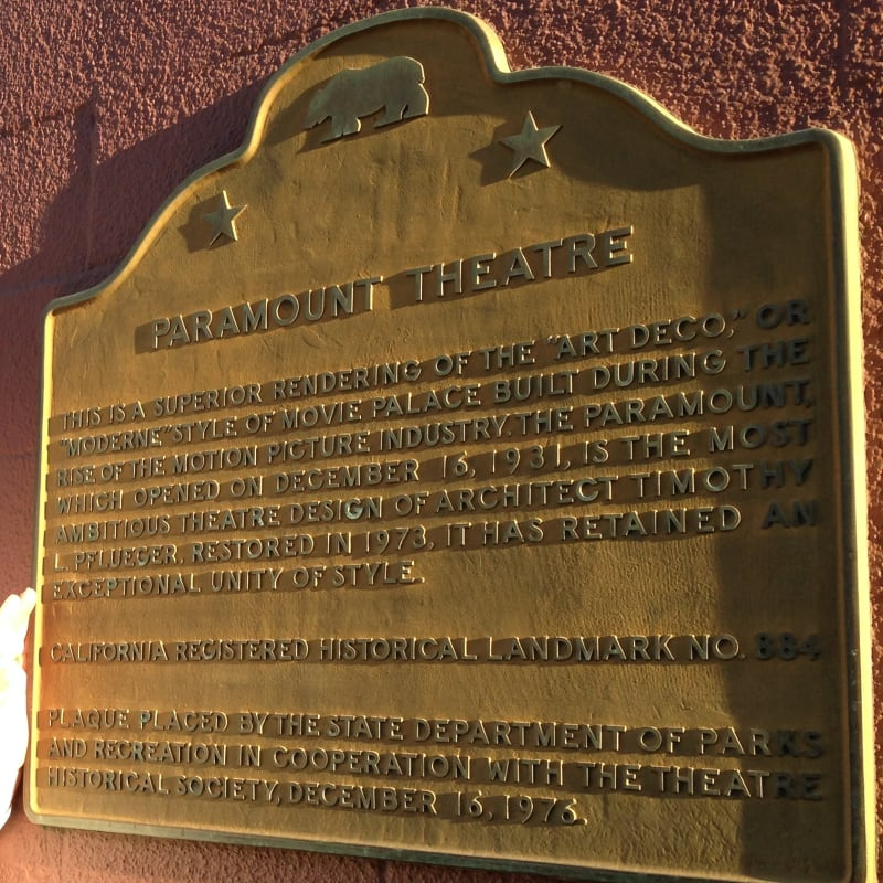 CHL #884  Paramount Theatre State Plaque