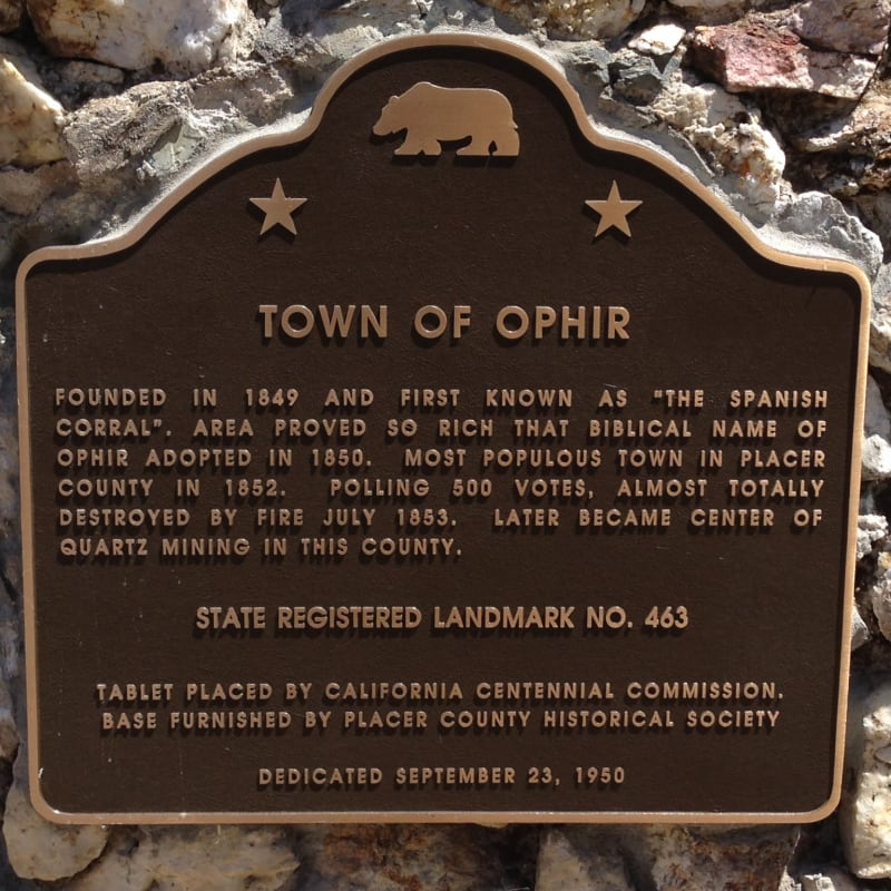 CHL #463 Ophir State Plaque