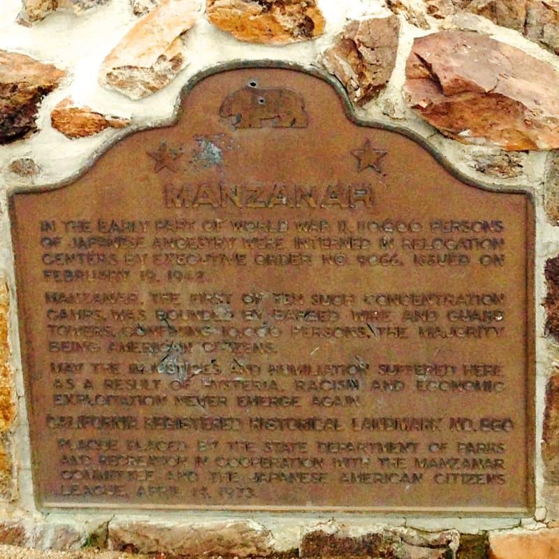 CHL #850 Manzanar Relocation Center - State Plaque