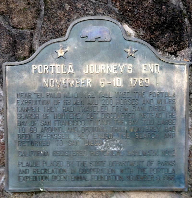 CHL #2  Portolá Journey's End State Plaque