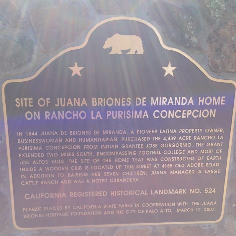 CHL #524  Juana Briones De Miranda State Plaque