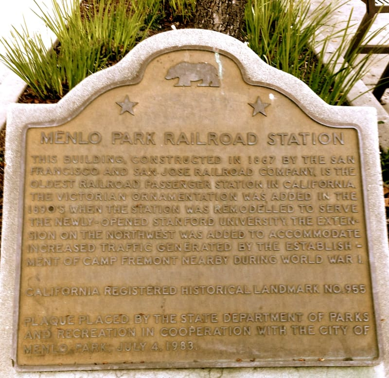 CHL #955  Southern Pacific Depot: Menlo Park State Plaque