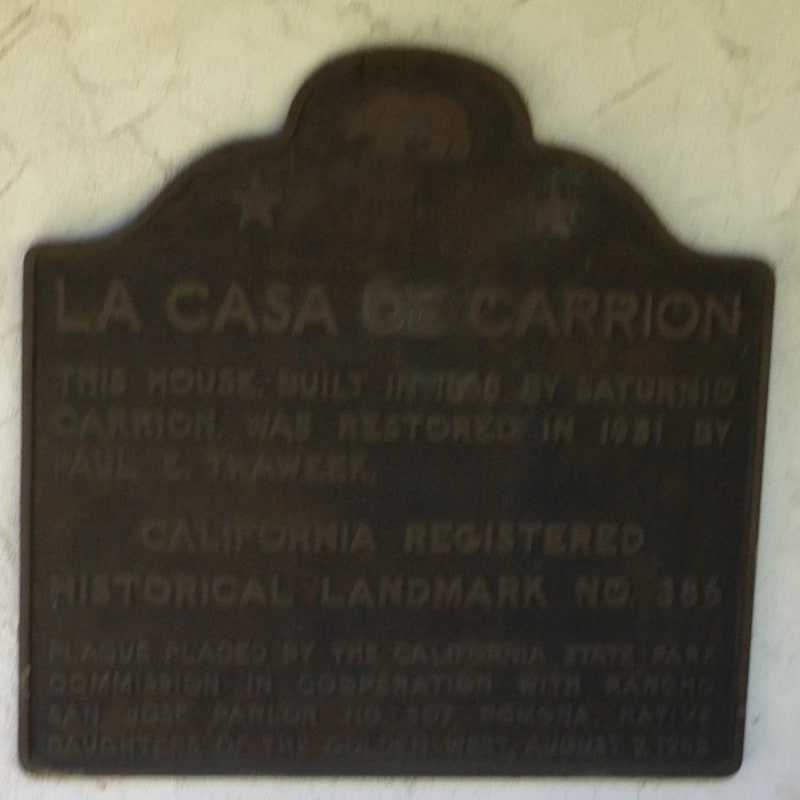 CHL #386  La Casa de Carrión State Plaque