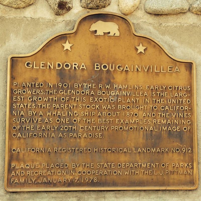 CHL #912  Glendora Bougainvillea State Plaque