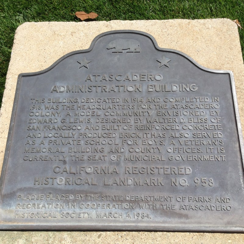 CHL #958 Atascadero Administration Building State Plaque in Lawn