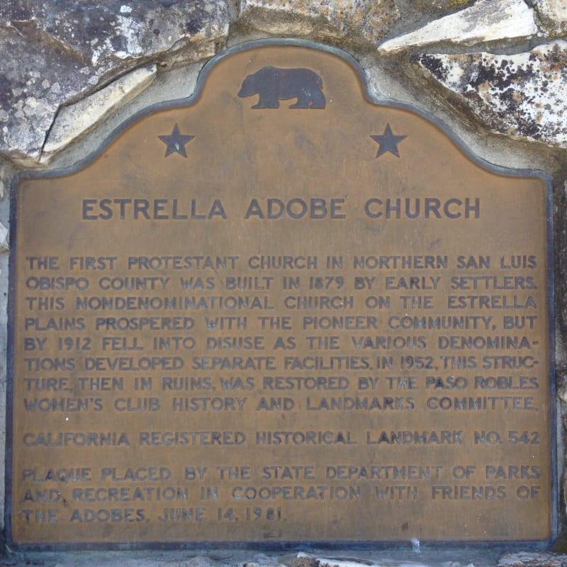 CHL #542 Estrella Adobe Church State Plaque