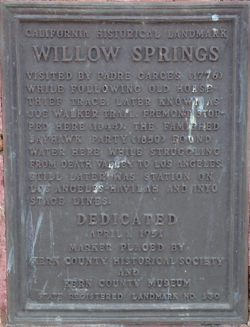 CHL #130 Willow Springs Private Plaque