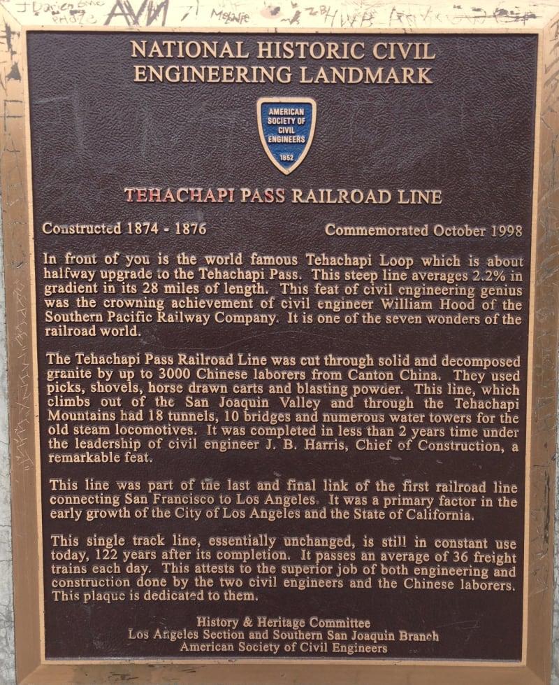 CHL #508 - Tehachapi Loop Plaque
