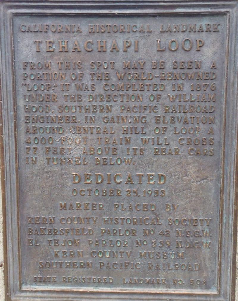 CHL #508 Tehachapi Loop Private Plaque