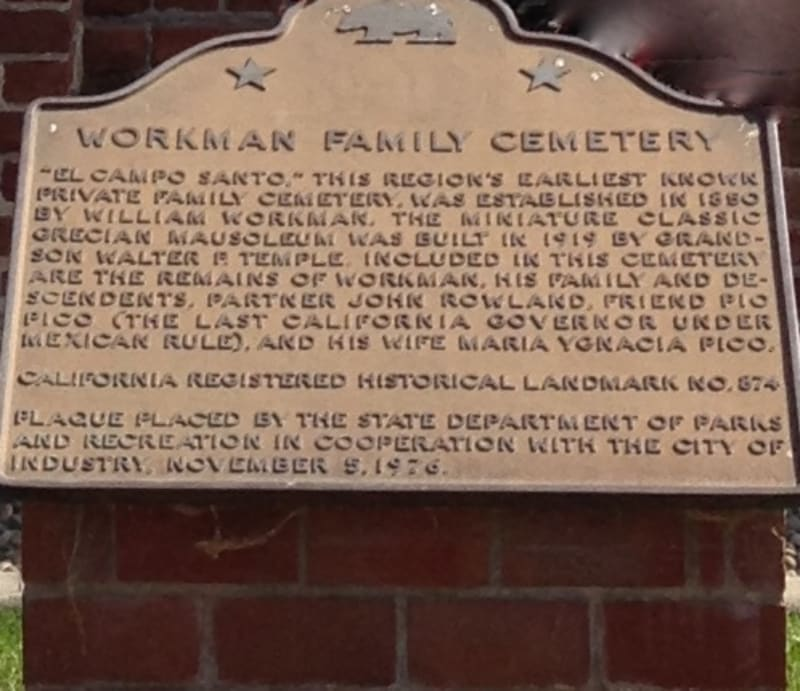 CHL #874.1 - Workman Cemetery State Plaque