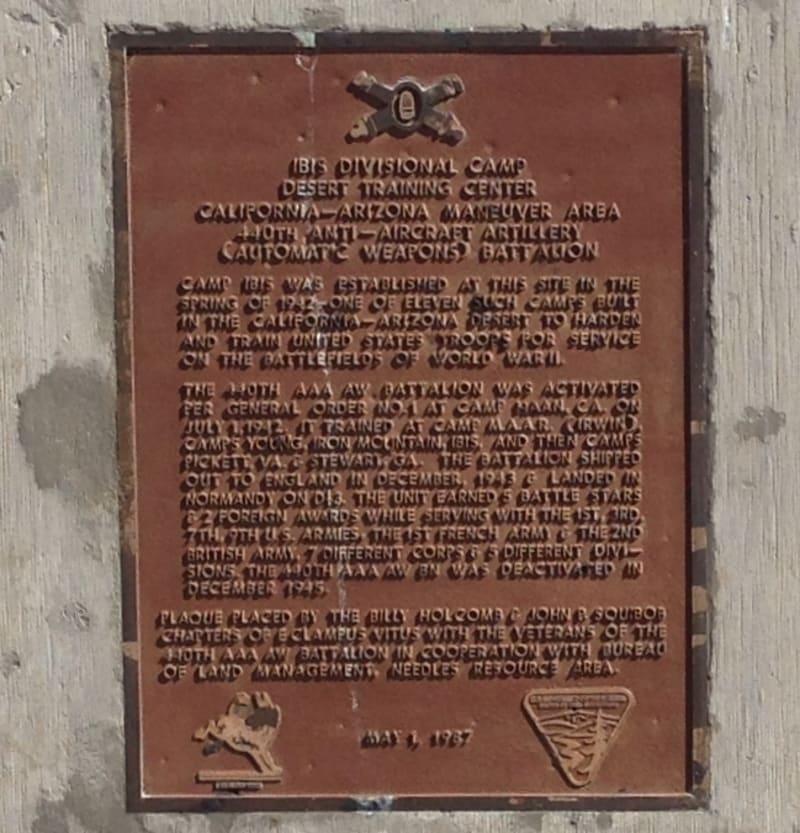 CHL #985.6  Camp Ibis Private Plaque