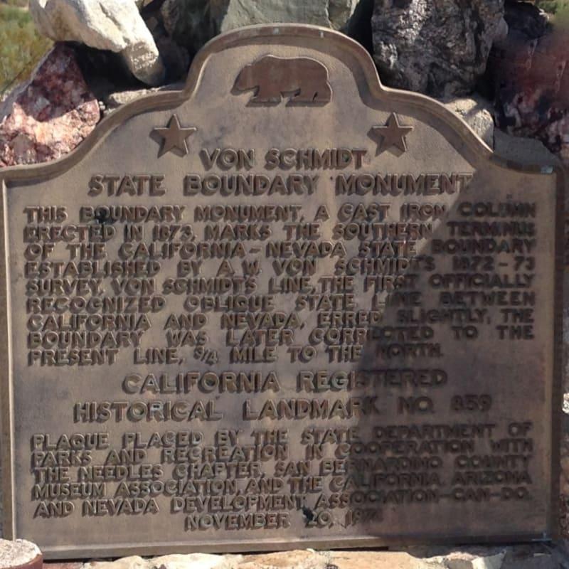 CHL #859 Von Schmidt State Boundary Monument State Plaque