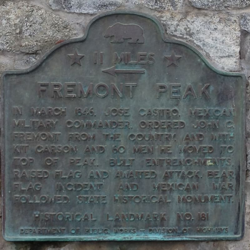 CHL #181  Fremont Peak State Plaque located in Abbey Park