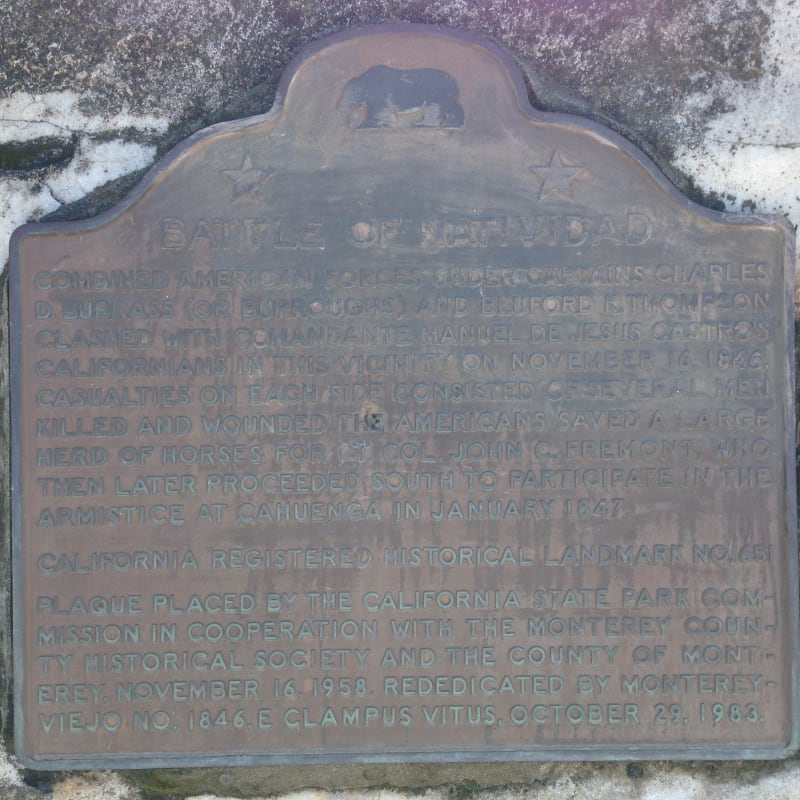 CHL #651 Battle of Natividad Site State Plaque