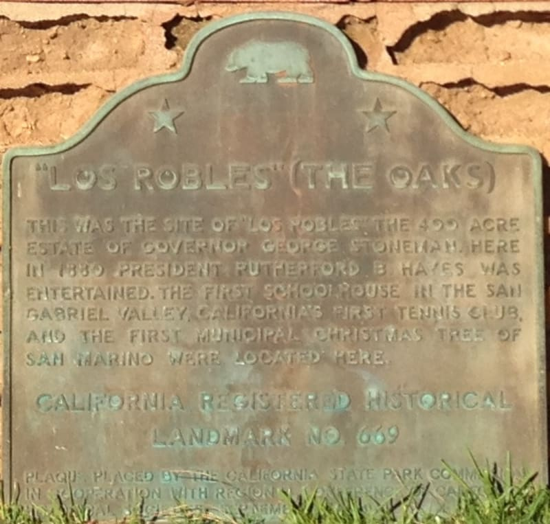 CHL #669 Governor Stoneman Adobe, Los Robles State Plaque