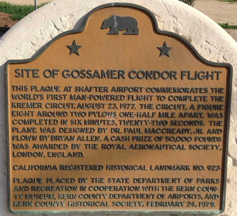 CHL #923 - Flight of the Gossamer Condor State Plaque