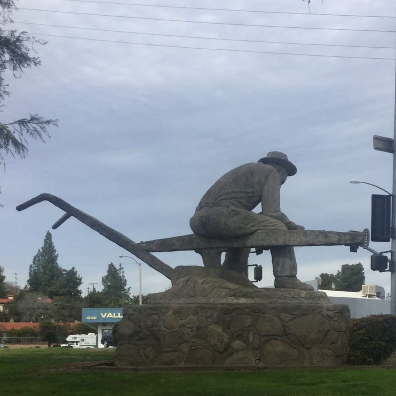 """CHL #473 Tule River Stage Station """"Salute to the Farmer Statue"""" by Kenneth Fox"""