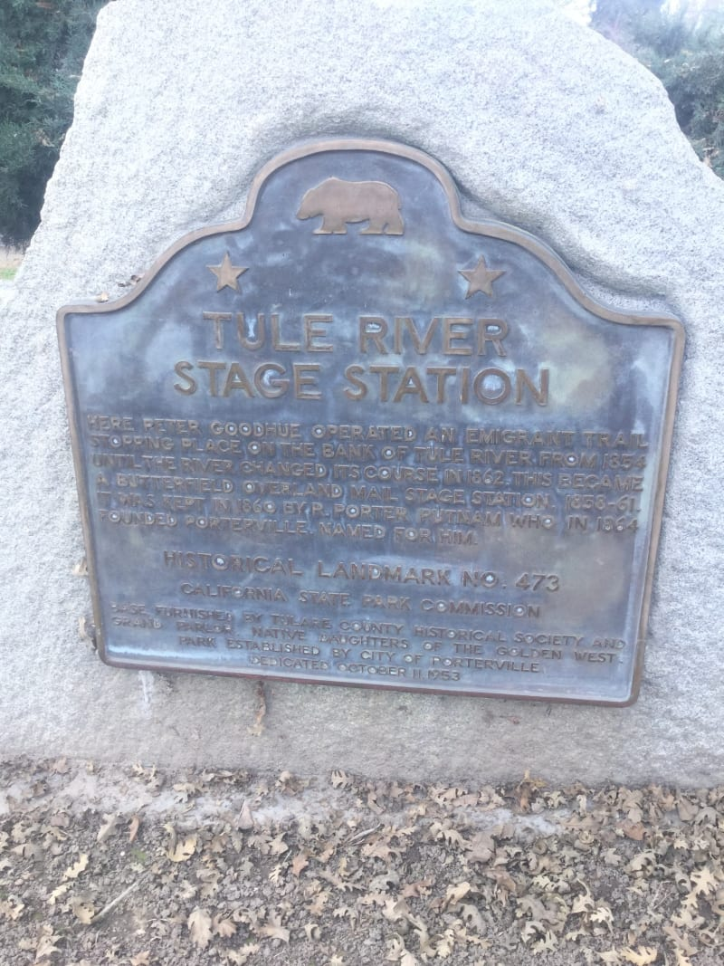 NO. 473 TULE RIVER STAGE STATION State Plaque