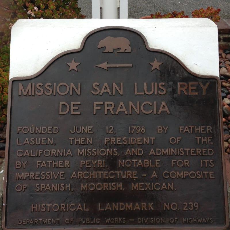 CHL 239 Mission San Luis Rey de Francia plaque
