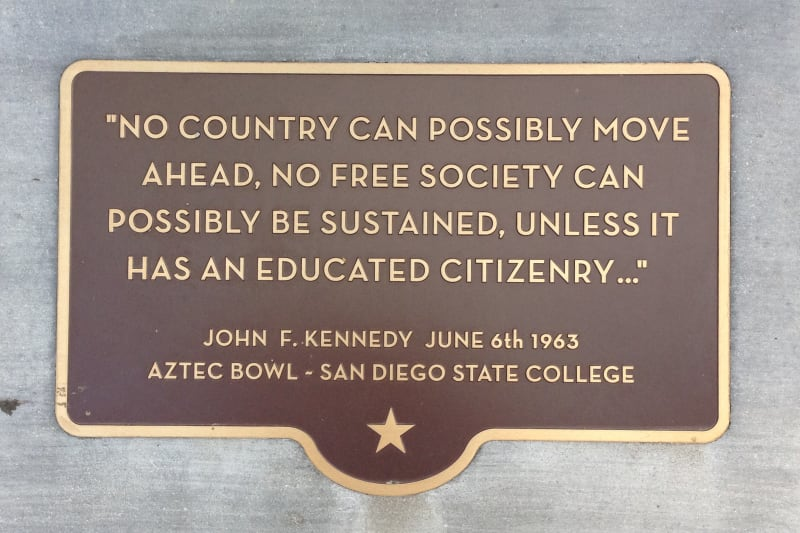 CHL 798 San Diego State University  plaque with John f. Kennedy quote