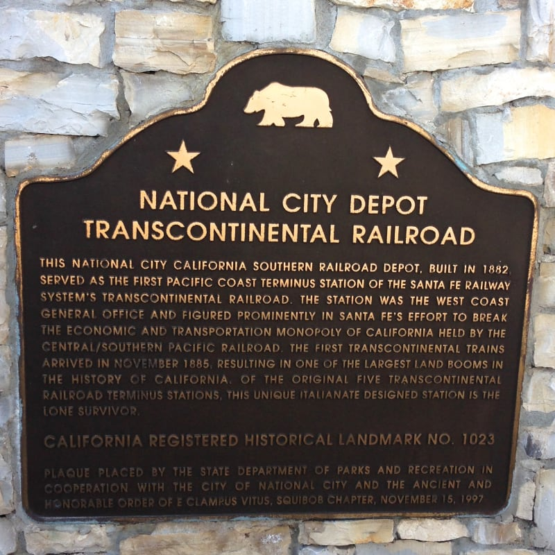 CHL 1023 Transcontinental Railroad Depot Plaque