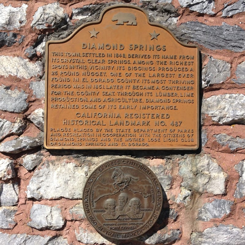 CHL No. 487  Diamond Springs Plaque