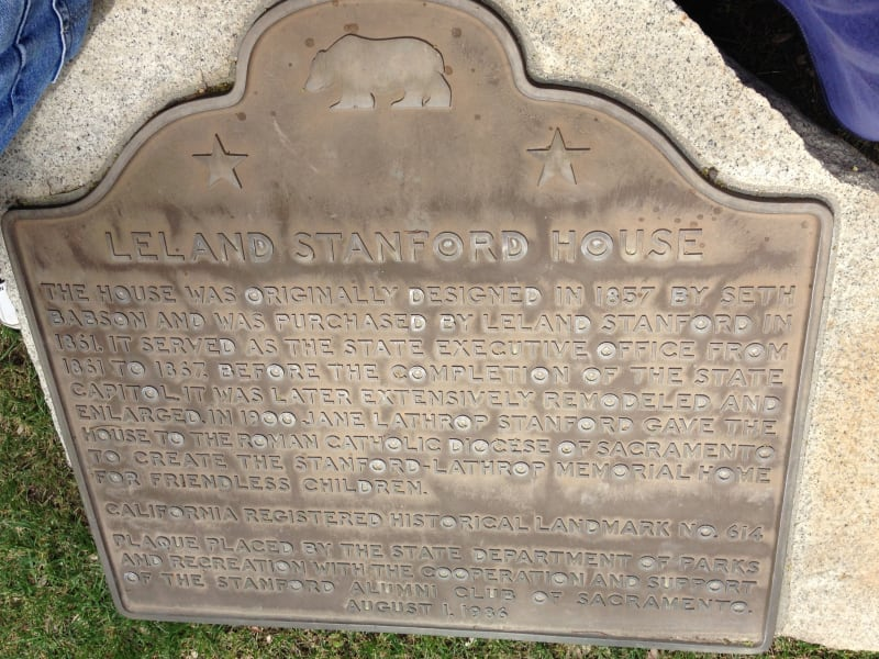 CHL No. 614 Stanford-Lathrop Home Plaque