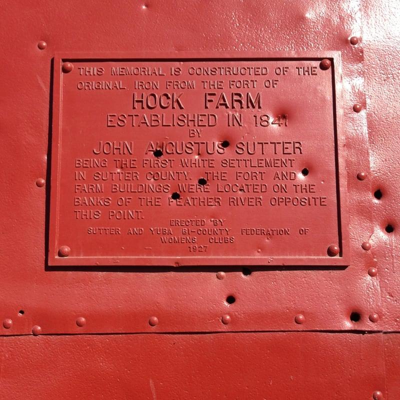 CHL No. 346  Site of Hock Farm Private Plaque