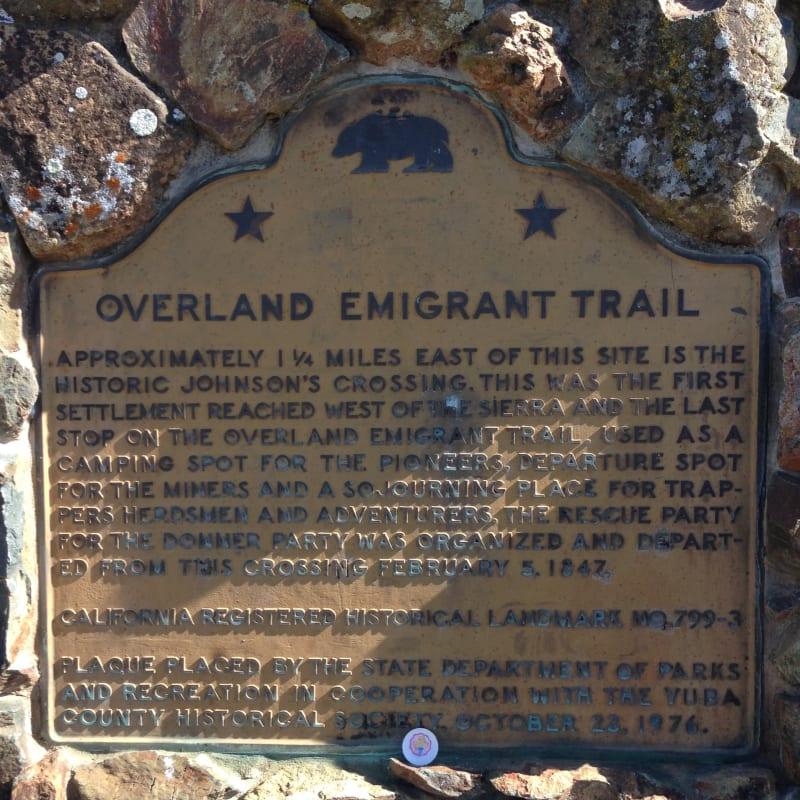 CHL No. 799.3 Overland Emigrant Trail - Yuba, Plaque