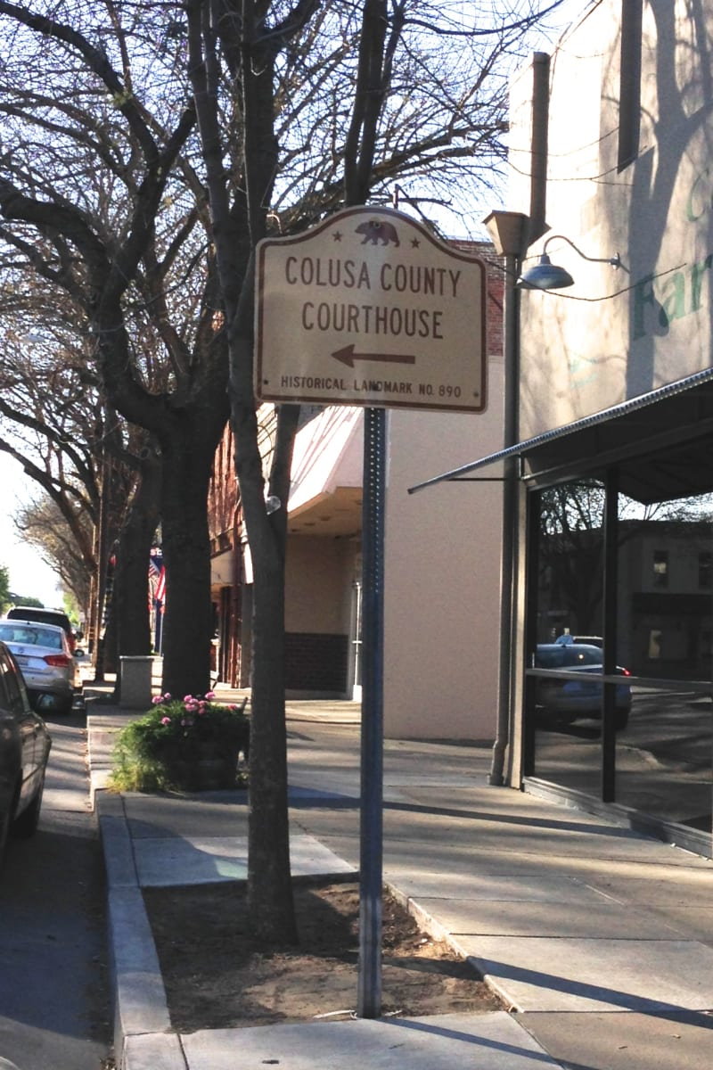 CHL No. 890  Colusa County Courthouse State Street Sign