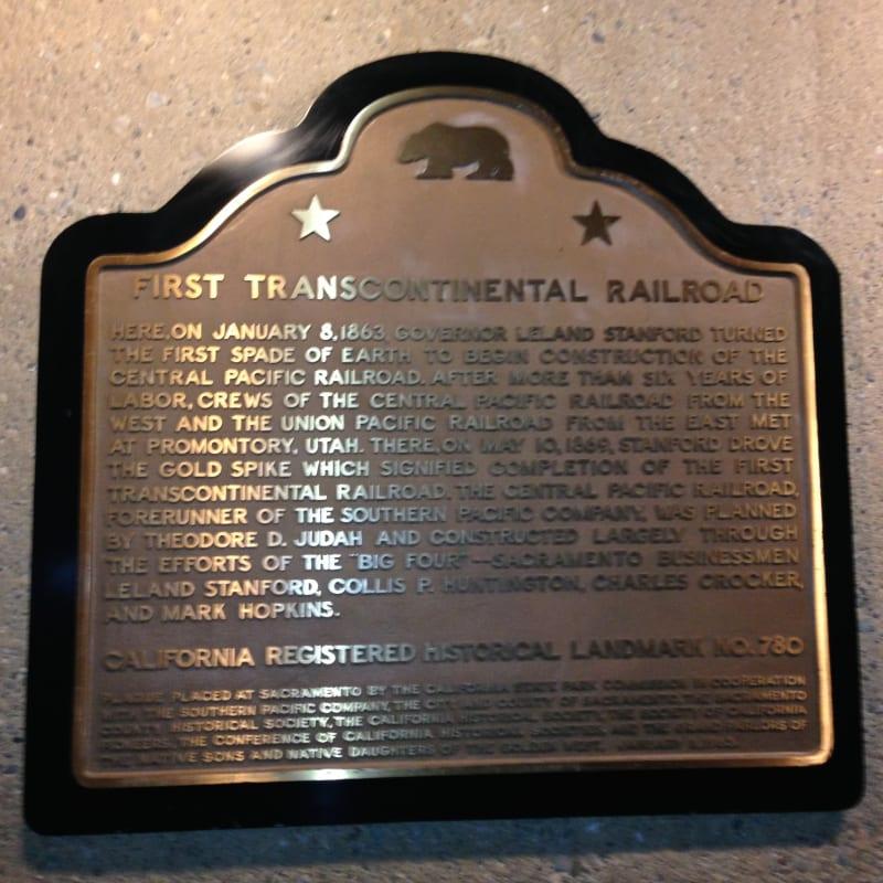 CHL No. 780  Transcontinental Railroad Plaque