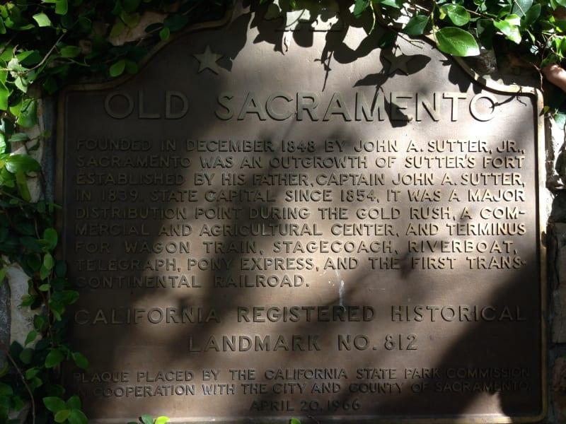 CHL No. 812 Old Sacramento Plaque