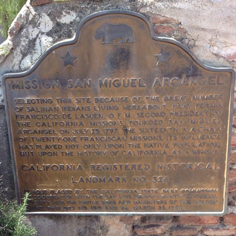 CHL No. 326 Mission San Miguel Arcángel State Plaque