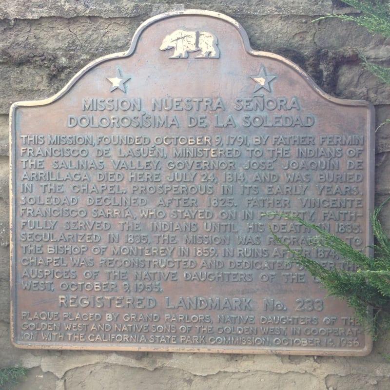 CHL No. 233  Mission Nuestra Señora de la Soledad State Plaque