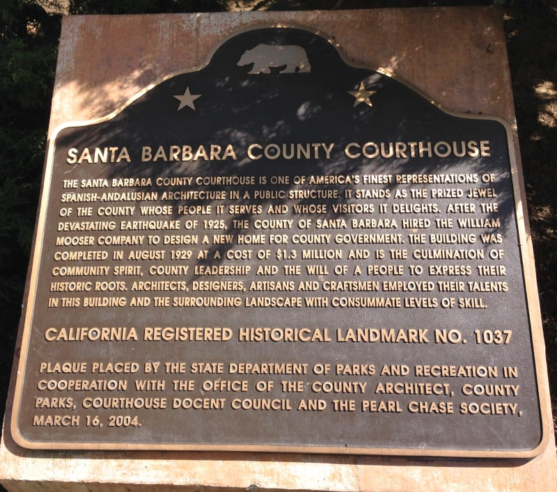 NO. 1037 Santa Barbara County Courthouse, State Plaque