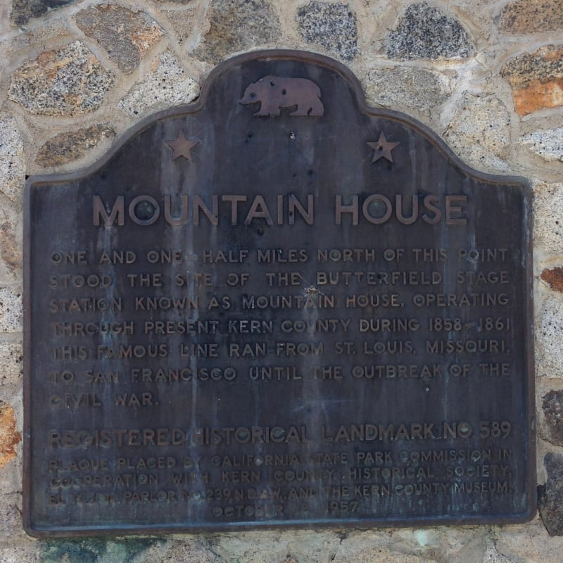 NO. 589 MOUNTAIN HOUSE, State Plaque
