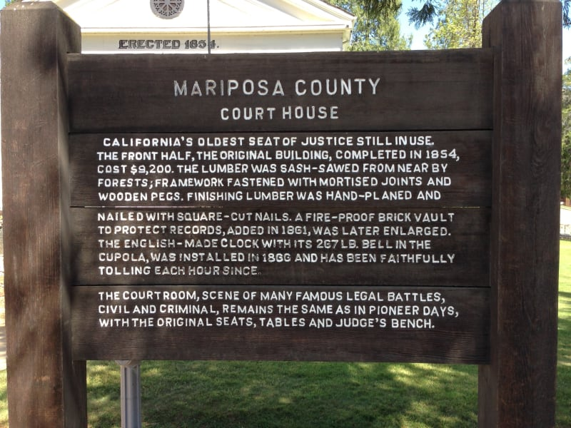 NO. 670 MARIPOSA COUNTY COURTHOUSE, Placard