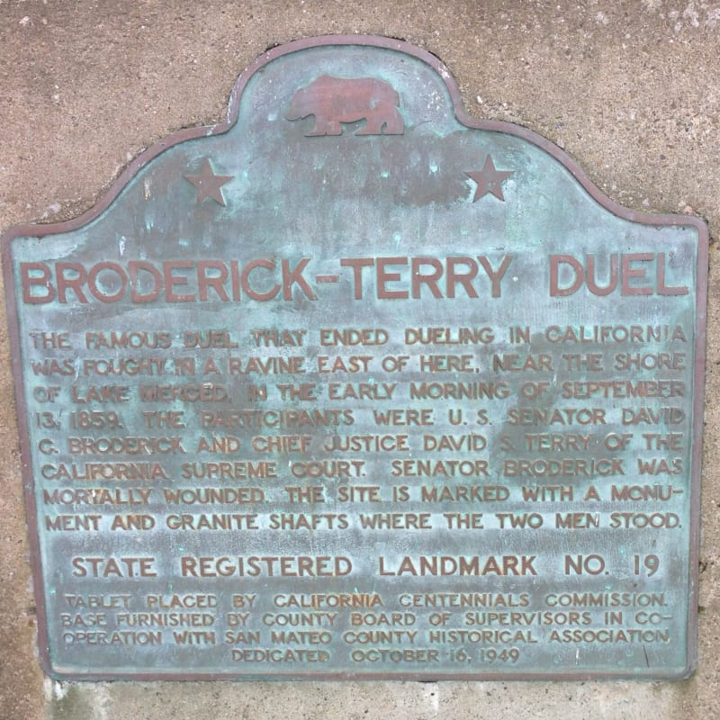 NO. 19 BRODERICK-TERRY DUELING PLACE, State Plaque