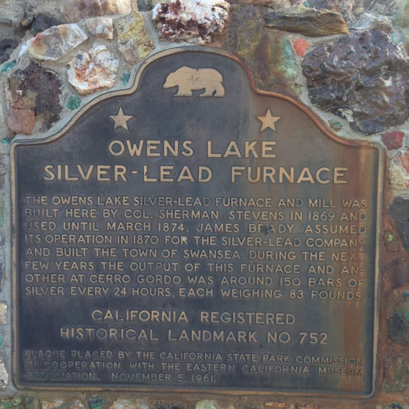 NO. 752.  FURNACE OF THE OWENS LAKE SILVER-LEAD COMPANY, State Plaque