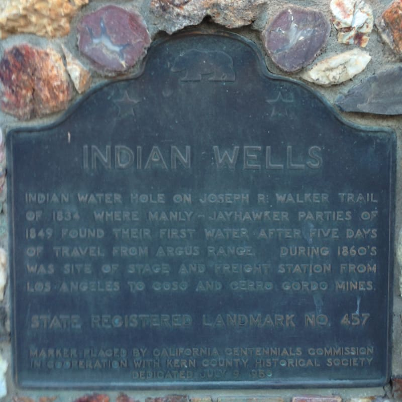 NO. 457 INDIAN WELLS, State Plaque
