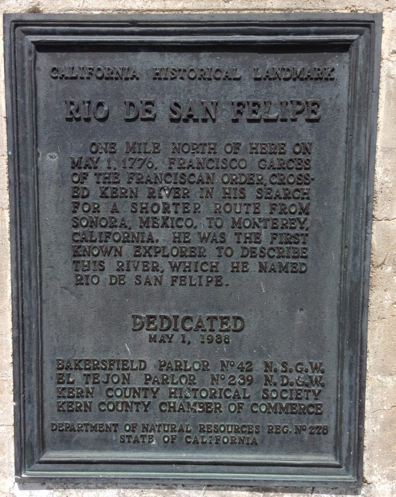 NO. 278 PLACE WHERE FRANCISCO GARCÉS CROSSED THE KERN RIVER, Plaque