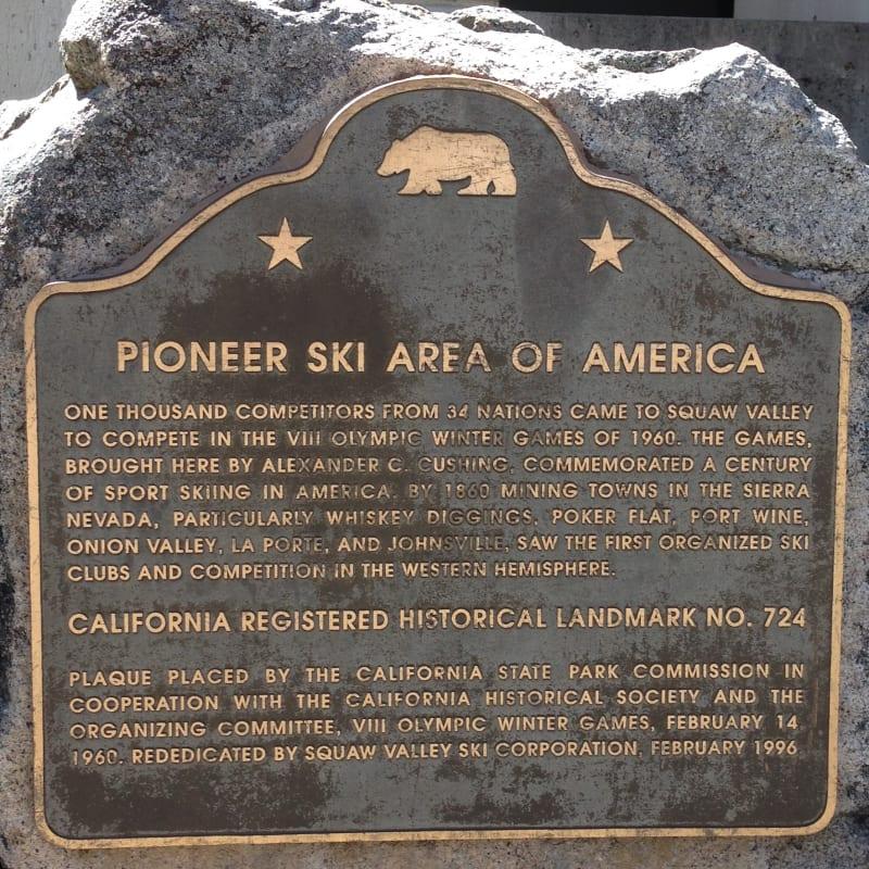 NO. 724 PIONEER SKI AREA OF AMERICA, SQUAW VALLEY, Plaque