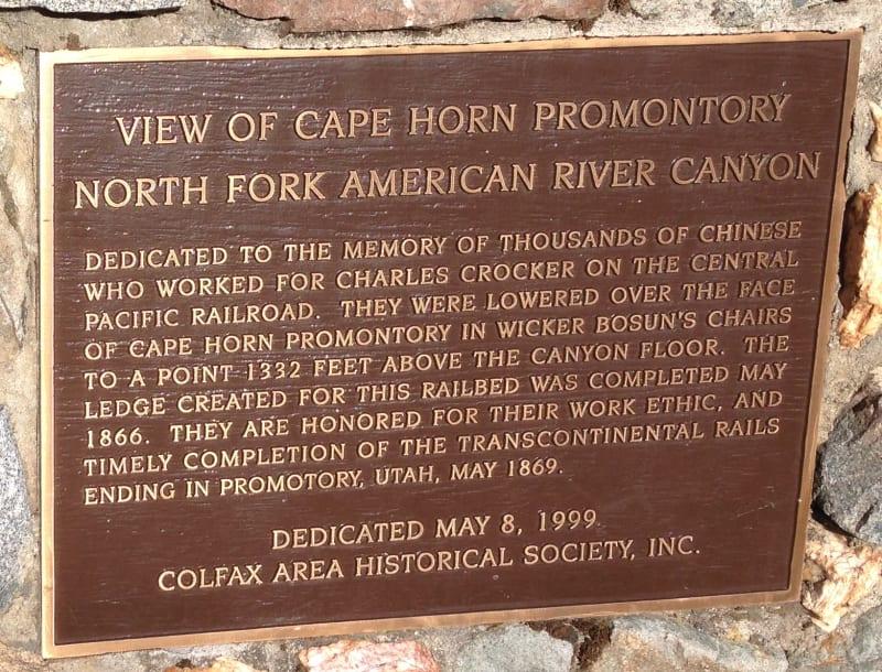 No. 780.9 Transcontinental Railroad - Cape Horn Promontory, Private Plaque