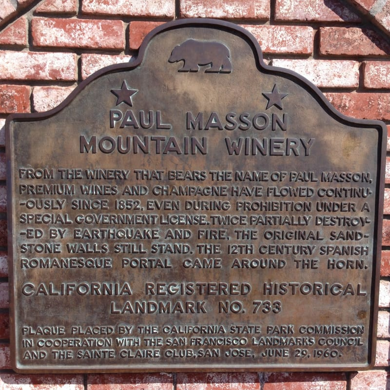 NO. 733 PAUL MASSON MOUNTAIN WINERY - State Plaque
