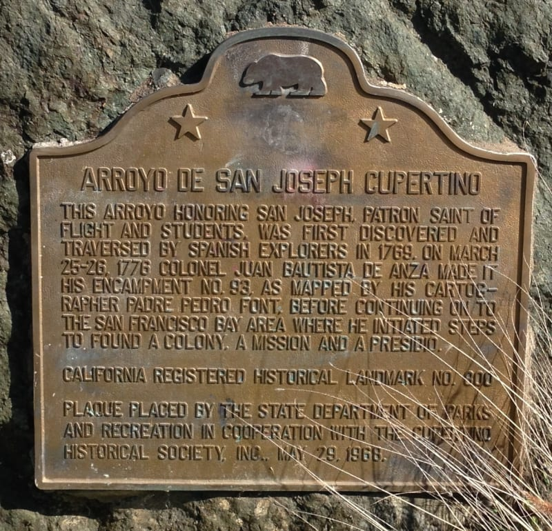 NO. 800 ARROYO DE SAN JOSEPH CUPERTINO - State Plaque