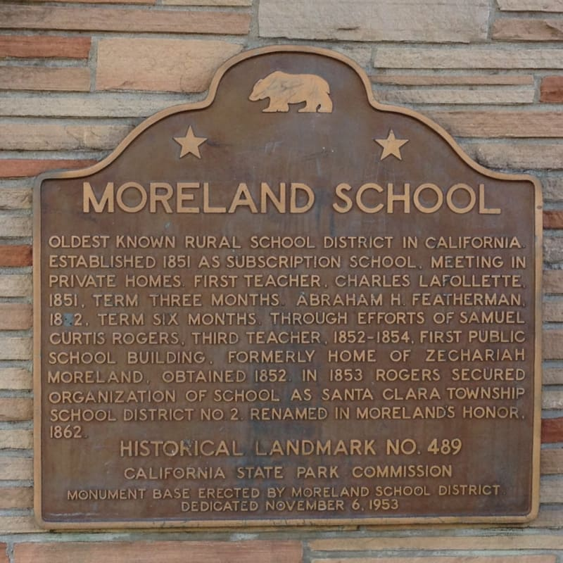 NO. 489 MORELAND SCHOOL -  State Plaque